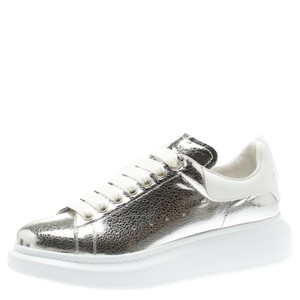Alexander McQueen Leather Rubber Silver Flats