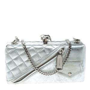 Dsquared2 Leather Chain Silver Clutch