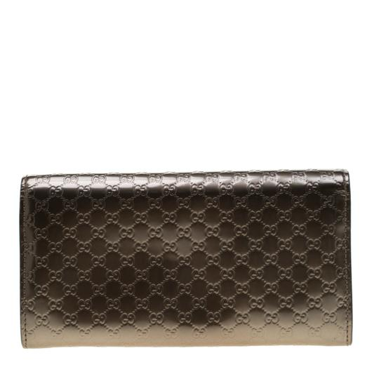 Gucci Metallic Grey Microguccissima Patent Leather Continental Wallet Image 1