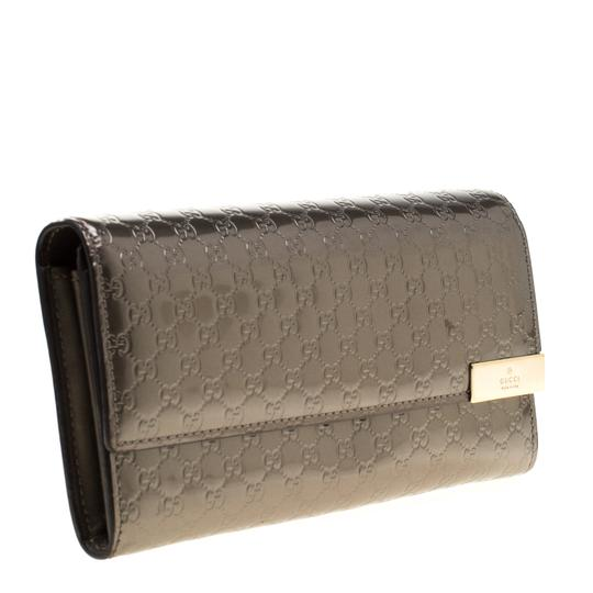 Gucci Metallic Grey Microguccissima Patent Leather Continental Wallet Image 4