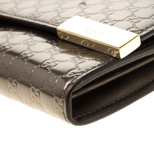 Gucci Metallic Grey Microguccissima Patent Leather Continental Wallet Image 5