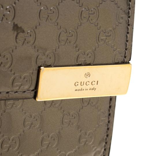Gucci Metallic Grey Microguccissima Patent Leather Continental Wallet Image 6