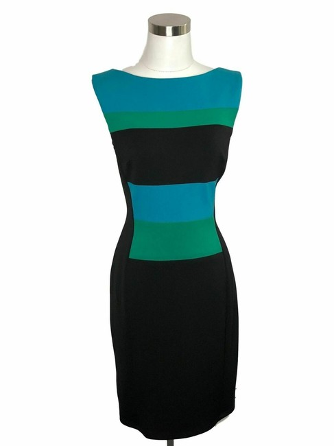 Item - Black Green Blue N198 Designer Medium Shift Short Work/Office Dress Size 10 (M)