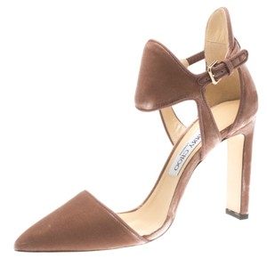Jimmy Choo Velvet Cut-out Pointed Toe Leather Pink Pumps