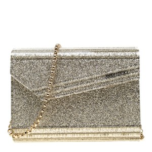 Jimmy Choo Leather Satin Glitter Silver Clutch