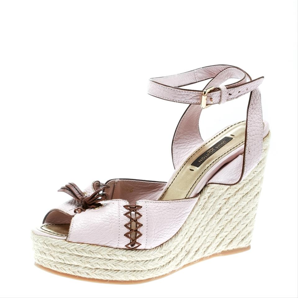 5d5173c9ea3 Louis Vuitton Pink Blush Leather Ankle Strap Espadrilles Wedge Sandals Size  EU 36 (Approx. US 6) Regular (M, B) 28% off retail