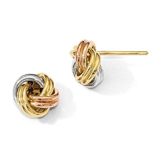 Apples of Gold 14K TRI-COLOR GOLD LOVE KNOT EARRINGS Image 2