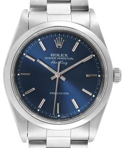 Rolex Rolex Air King Blue Dial Domed Bezel Steel Mens Watch 14000 Box Papers