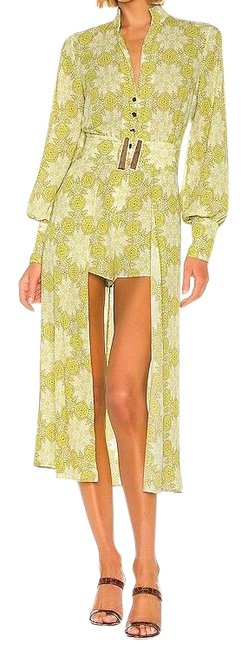 Item - Yellow/Green Floral Print Derby and Cape Romper/Jumpsuit