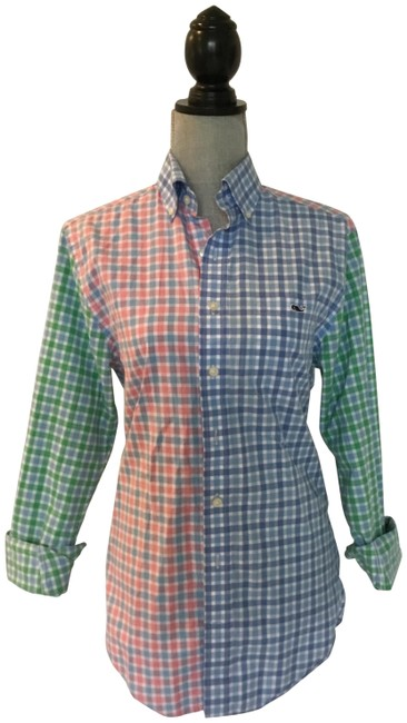 Item - Pink Blue Green Fun Button-down Top Size 6 (S)