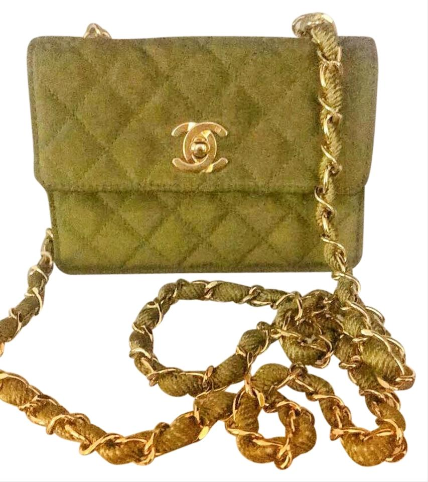 bea515f90c53 Chanel Classic Flap (Super Rare) Extra Mini Green Canvas Cross Body ...