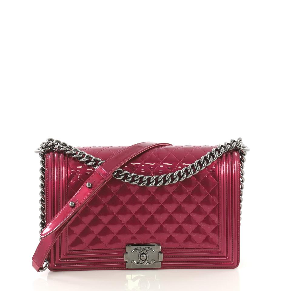 80650f083410 Chanel Classic Flap Boy Quilted Patent New Medium Pink Leather Cross Body  Bag