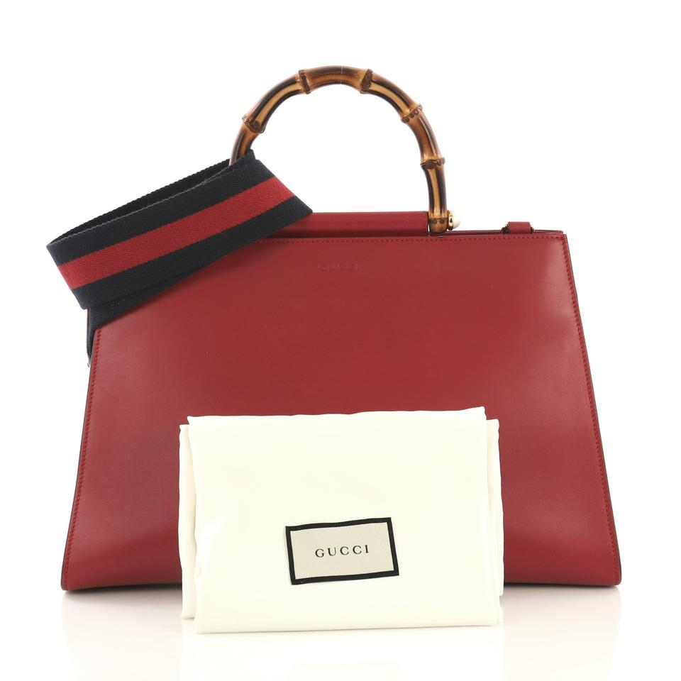 c358a95dc19a23 Gucci Top Handle Bag Nymphaea Medium Red Leather Tote - Tradesy