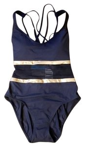 Bleu Rod Beattie BLEU by Rod Beattle Black Mesh Rose Gold Stripes One Piece Swimsuit