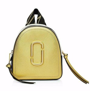Marc Jacobs Color-blocking Rugsack Signature Double J Coated Leather Metallic Leather Backpack