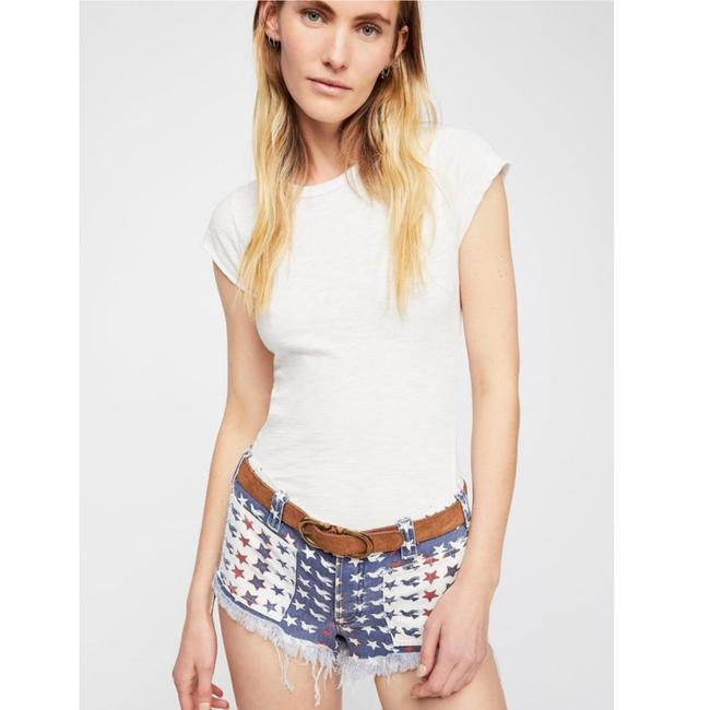 Free People Cut Off Shorts New Red White & Blue Image 1