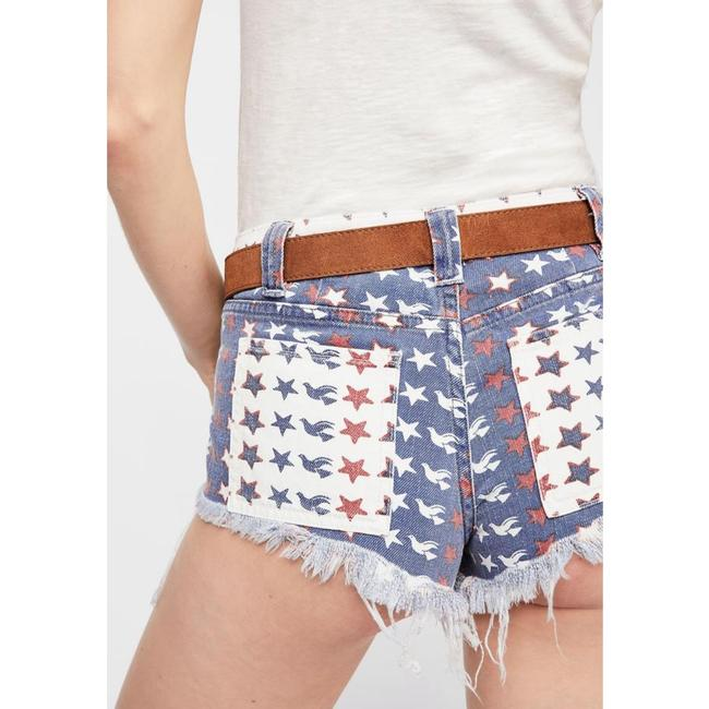 Free People Cut Off Shorts New Red White & Blue Image 2