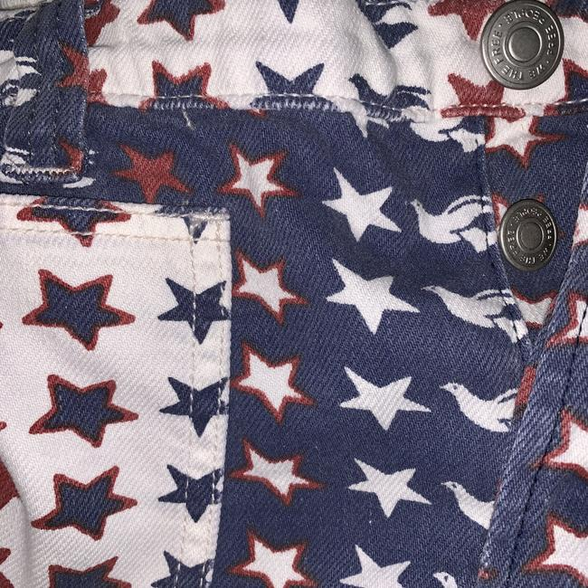 Free People Cut Off Shorts New Red White & Blue Image 4
