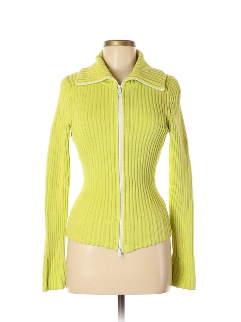 Item - Neon Yellow Green Rib Knit Cotton Double Zip Sweater Jacket Cardigan Size 6 (S)