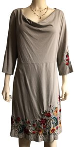 taupe Maxi Dress by Johnny Was Embroidered Floral Boho
