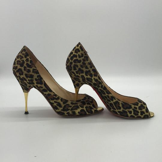 Christian Louboutin Peep Toe Stiletto Brown Print Pumps Image 1