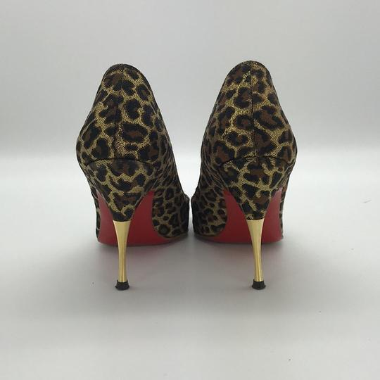 Christian Louboutin Peep Toe Stiletto Brown Print Pumps Image 2