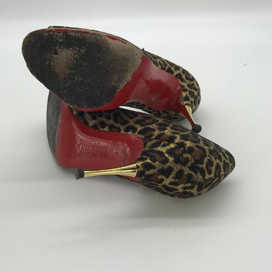 Christian Louboutin Peep Toe Stiletto Brown Print Pumps Image 3