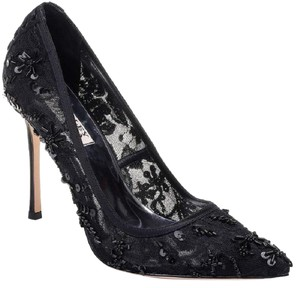 Badgley Mischka Beaded Lace Formal Evening Black Pumps