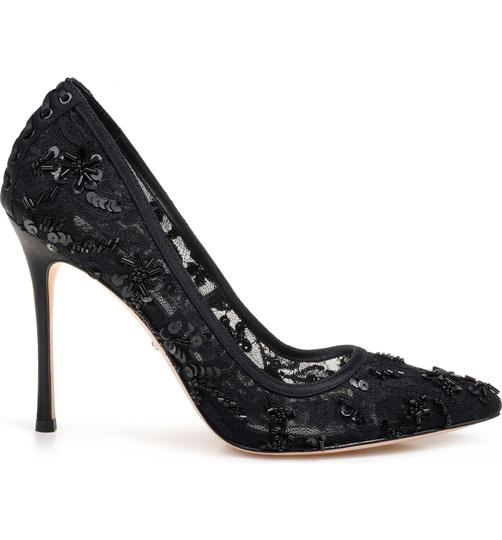 Badgley Mischka Beaded Lace Formal Evening Black Pumps Image 1