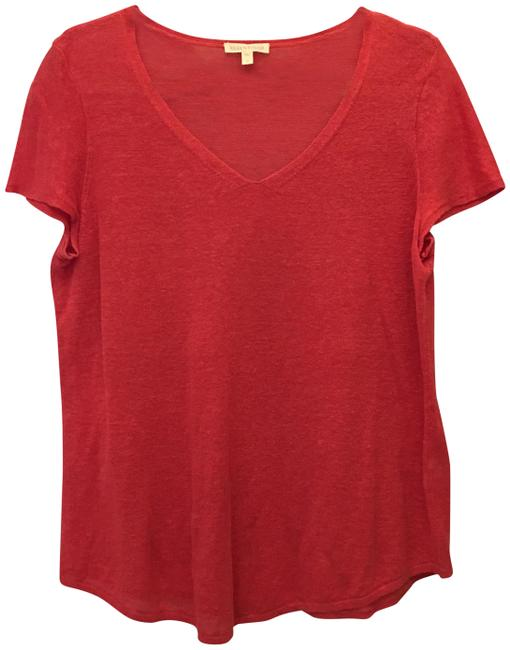Eileen Fisher Organic Linen V-neck Short Sleeve Size M Medium 8-10 Sweater Image 0
