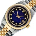 Rolex Blue Vignette Mens Datejust Ss/Yellow Gold with String Diamond Dial Watch Rolex Blue Vignette Mens Datejust Ss/Yellow Gold with String Diamond Dial Watch Image 1