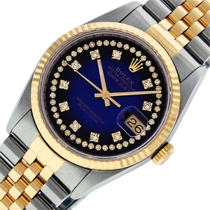 Rolex Mens Datejust Ss/Yellow Gold with String Diamond Dial Watch