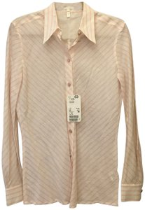 Escada Diagonal Stripe Linen Cotton Blend Size 6 S Small New With Tags Top White and Pink
