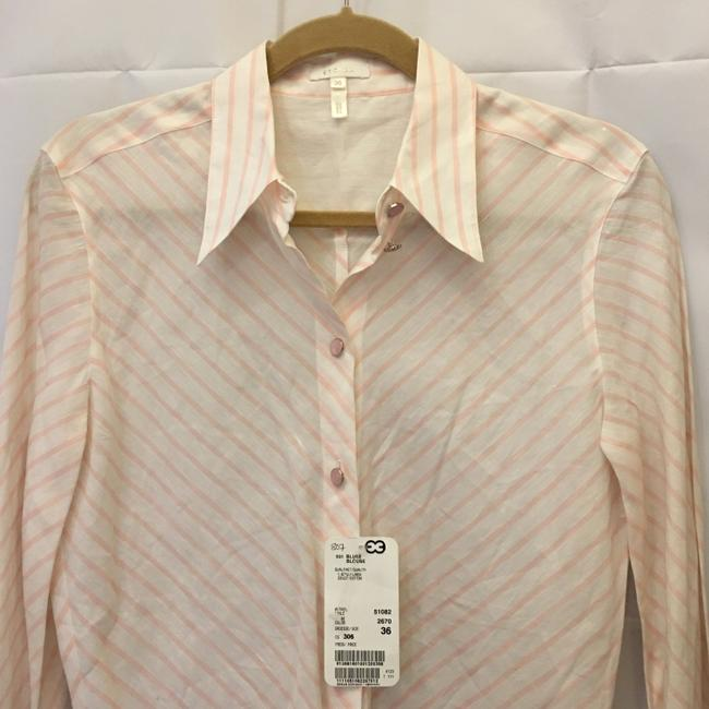 Escada Diagonal Stripe Linen Cotton Blend Size 6 S Small New With Tags Top White and Pink Image 1