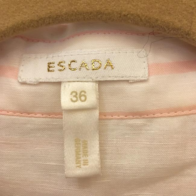 Escada Diagonal Stripe Linen Cotton Blend Size 6 S Small New With Tags Top White and Pink Image 2