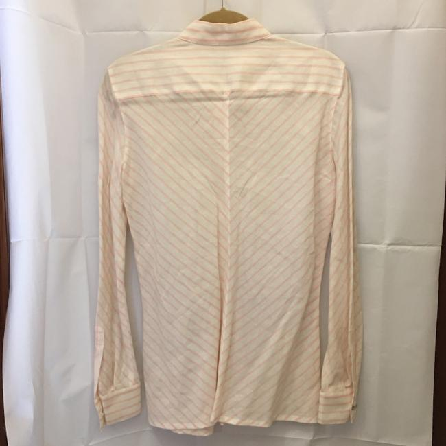 Escada Diagonal Stripe Linen Cotton Blend Size 6 S Small New With Tags Top White and Pink Image 7