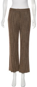 Lafayette 148 New York Tweed Cropped Ankle Length Wide Leg Pants Brown