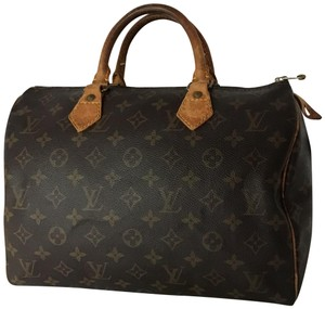 Louis Vuitton Speedy Monogram Lock & Key Dust Vintage Satchel in Brown