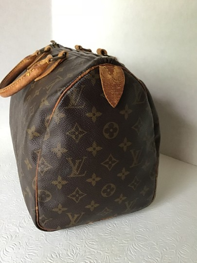 Louis Vuitton Speedy Monogram Lock & Key Dust Vintage Satchel in Brown Image 4