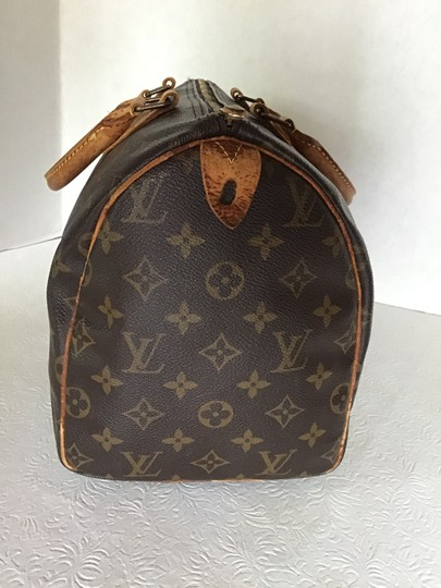 Louis Vuitton Speedy Monogram Lock & Key Dust Vintage Satchel in Brown Image 8