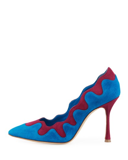 Manolo Blahnik Scalloped Contrast Blue Suede Pumps Image 1