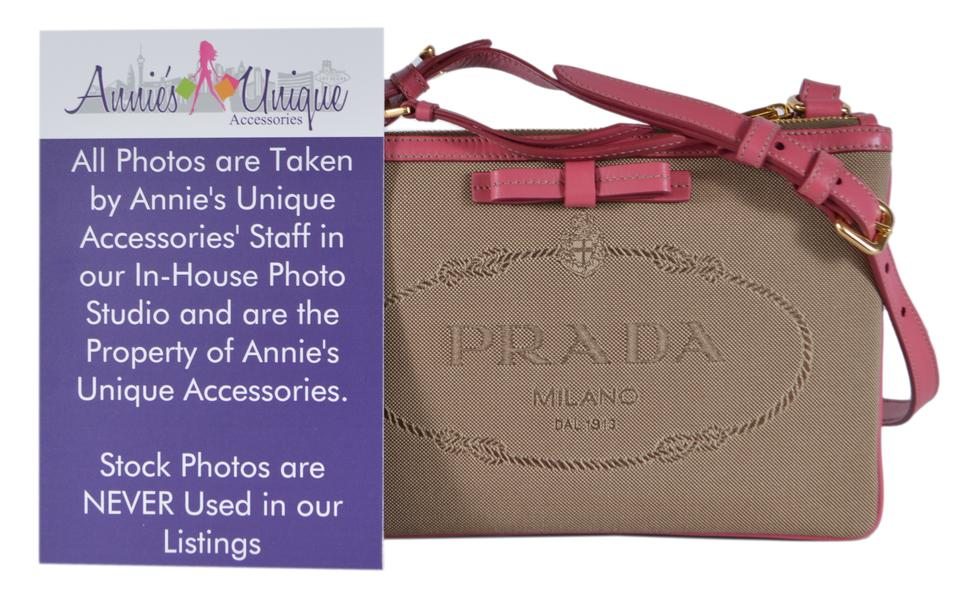 d29dde91388f0d Prada Double New 1bh046 Logo Bandoliera Zip Pink and Brown Jacquard Leather Cross  Body Bag - Tradesy