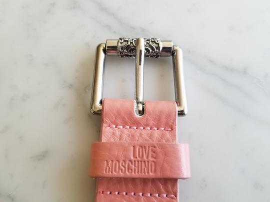 Love Moschino Love Moschino Pink Leather Belt Vintage Silver Hardware Image 3