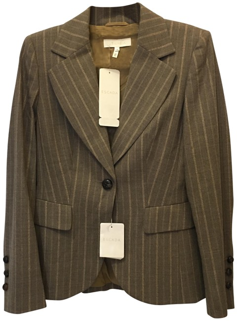 Escada Jacket Wool Blend Lined Size 6 S Small New With Tags Brown Blazer Image 0