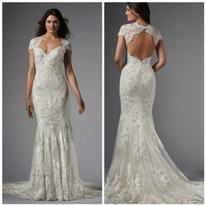 Wtoo Ivory Lace Claudine-15160 Formal Wedding Dress Size 14 (L)