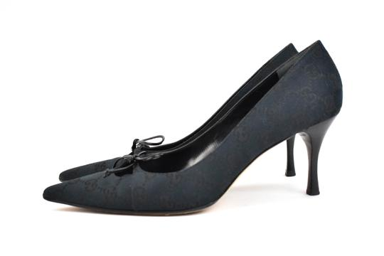 Gucci Gg Logo Bow Pointed Toe Dark Navy Blue Pumps Image 1