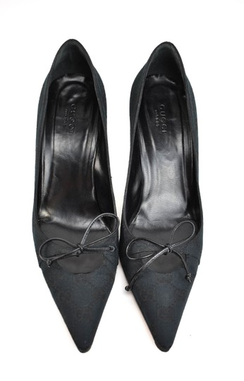 Gucci Gg Logo Bow Pointed Toe Dark Navy Blue Pumps Image 2