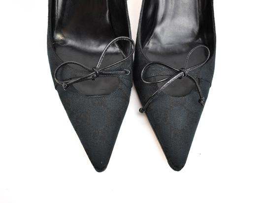 Gucci Gg Logo Bow Pointed Toe Dark Navy Blue Pumps Image 3