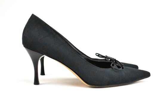 Gucci Gg Logo Bow Pointed Toe Dark Navy Blue Pumps Image 5