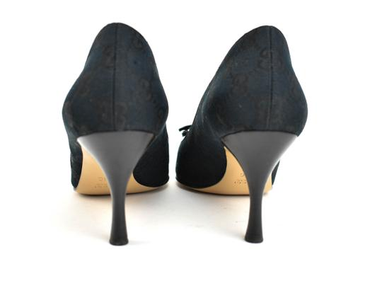 Gucci Gg Logo Bow Pointed Toe Dark Navy Blue Pumps Image 6
